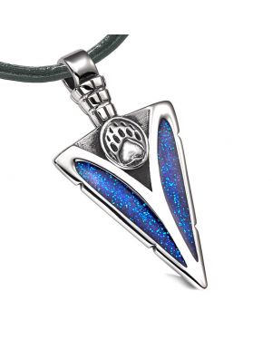 Arrowhead Grizzly Bear Paw Brave Power Protection Amulet Sparkling Royal Blue Pendant Leather Necklace