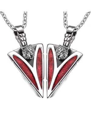 Arrowhead Wild Grizzly Bear Head Love Couples or BFF Set Protection Amulets Sparkling Red Necklaces