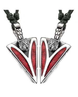 Arrowhead Wild Grizzly Bear Head Love Couples or BFF Set Amulets Sparkling Red Adjustable Necklaces