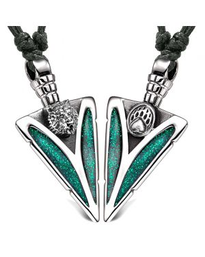 Arrowhead Grizzly Bear Head and Paw Love Couples BFF Set Amulets Sparkling Green Adjustable Necklaces