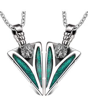 Arrowhead Wild Grizzly Bear Head Love Couples or BFF Set Protection Amulets Sparkling Green Necklaces