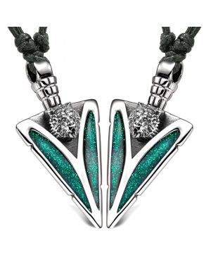 Arrowhead Wild Grizzly Bear Head Love Couples or BFF Set Amulets Sparkling Green Adjustable Necklaces