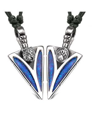 Arrowhead Grizzly Bear Head and Paw Love Couples BFF Set Amulets Sparkling Blue Adjustable Necklaces