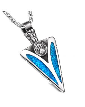 Arrowhead Grizzly Bear Paw Brave Powers Protection Amulet Simulated Turquoise Pendant 22 Inch Necklace