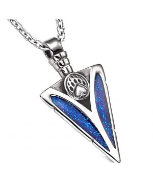 Arrowhead Grizzly Bear Paw Brave Power Protection Amulet Sparkling Royal Blue Pendant 22 Inch Necklace