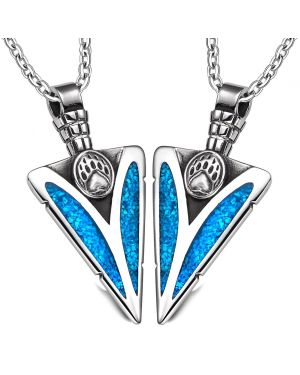 Arrowhead Grizzly Bear Wild Paw Love Couples or BFF Set Protection Amulets Simulated Turquoise Necklaces