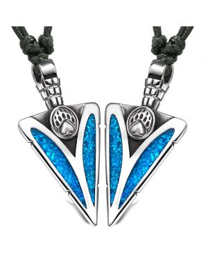 Arrowhead Grizzly Bear Wild Paw Love Couples or BFF Set Amulets Simulated Turquoise Adjustable Necklaces