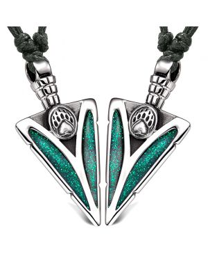 Arrowhead Grizzly Bear Paw Love Couples Best Friends Set Amulets Sparkling Royal Green Adjustable Necklaces
