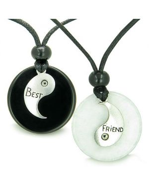 Double Lucky Best Friends Medallions Amulets in White Jade Black Onyx Friendship Pendants Necklaces