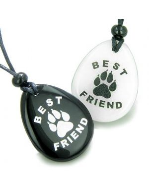 Lucky Best Friends Wolf Paw White Jade and Black Onyx Wish Gemstones Friendship Necklaces