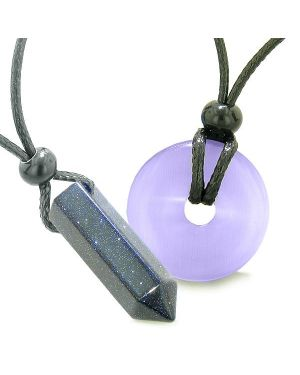 Yin Yang His Hers Love Couple Crystal Point Lucky Donut Goldstone Purple Cats Eye Amulet Necklaces