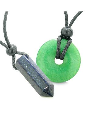 Yin Yang His Hers Love Couples Crystal Point Lucky Donut Goldstone Green Quartz Amulet Necklaces