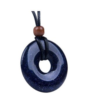 Amulet Large Medallion Circle Coin Donut Protection Magical Powers Blue Goldstone Charm Necklace