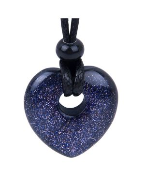 Amulet Lucky Heart Donut Shaped Charm Blue Goldstone Crystal Pendant Sparkling Magic Powers Necklace