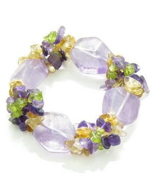 Amulet Healing Faceted Amethyst Crystal with Peridot Citrine Amethyst Natural Powers Bracelet