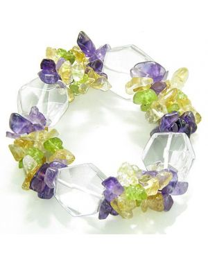 Amulet Healing Faceted Rock Quartz Crystal with Peridot Citrine Amethyst Chips Powers Bracelet