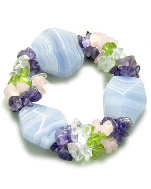 Amulet Large Faceted Blue Lace Agate with Quartz Peridot Rose Quartz Amethyst Good Luck Bracelet
