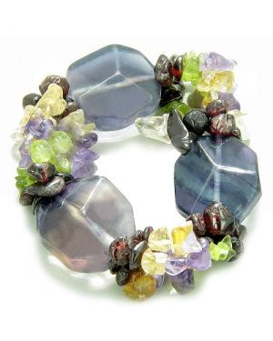 Amulet Large Faceted Fluorite Crystals Garnet Peridot Citrine Amethyst Aura ProtectiBracelet