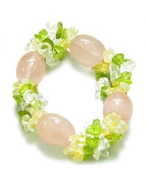 Amulet Tumbled Rose Quartz Crystals Peridot Quartz Citrine Chips Good Luck Love Powers Bracelet