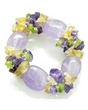 Amulet Tumbled Amethyst Crystals with Peridot Citrine Amethyst Good Luck Protection Powers Bracelet