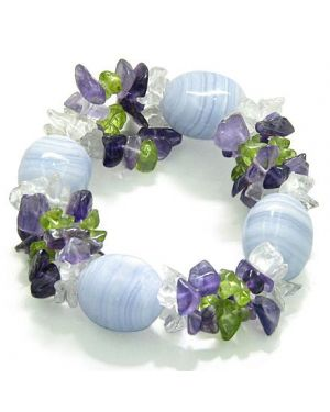 Amulet Healing Tumbled Blue Lace Crystal with Peridot Crystal Quartz Amethyst Powers Bracelet