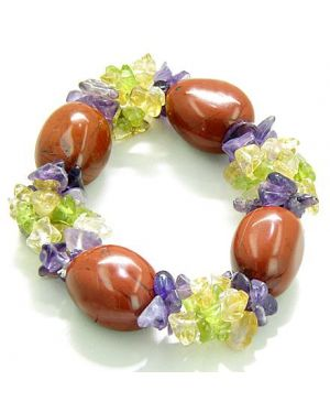 Amulet Tumbled Red Jasper Crystals with Peridot Citrine Amethyst Chips Believe Good Luck Bracelet