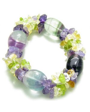 Amulet Tumbled Fluorite Crystals with Peridot Citrine Amethyst Aura Protection Powers Bracelet