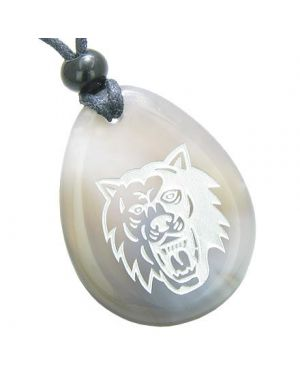 Brave Protection Lucky Wolf Good Luck Amulet Natural Agate Totem Gem Stone Necklace Pendant