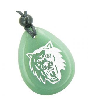 Brave Protection Lucky Wolf Good Luck Amulet Green Aventurine Totem Gem Stone Necklace Pendant
