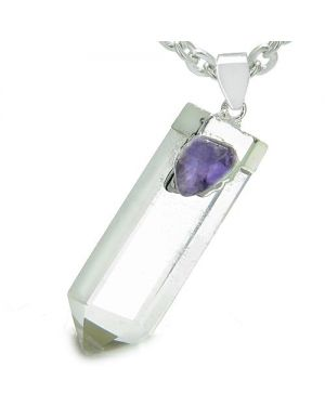 Astrological Aquarius Amulet Double Crystal Point Amethyst Rock Quartz Gems Zodiac Pendant Necklace