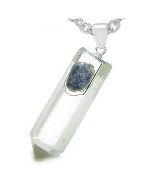 Astrological Sagittarius Amulet Double Crystal Point Sodalite Rock Quartz Zodiac 22 Inch Necklace