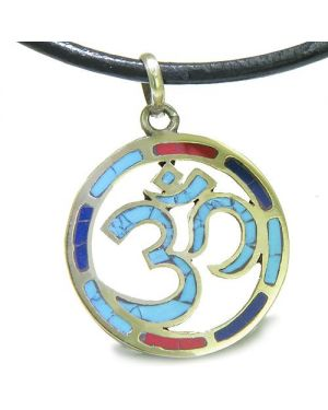 Amulet Tibetan Mantra Ancient Om Turquoise Magic Circle Medallion Pendant on Leather Cord Necklace