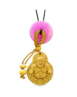 Magic Happy Buddha Car Charm Home Decor Hot Pink Quartz Lucky Coin Donut Protection Powers Amulet