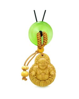 Magic Happy Buddha Car Charm Home Decor Green Simulated Cats Eye Lucky Coin Donut Protection Amulet