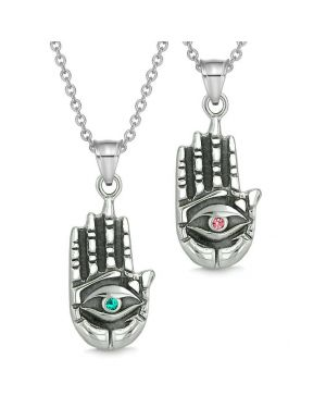 All Seeing Feeling Buddha Eye Love Couple Best Friend Amulets Pink Green Pendant Necklaces