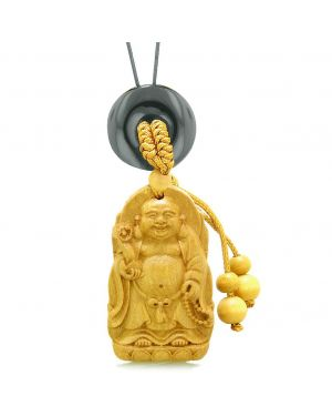 Laughing Buddha Blooming Lotus Car Charm Home Decor Black Agate Coin Donut Protection Powers Amulet