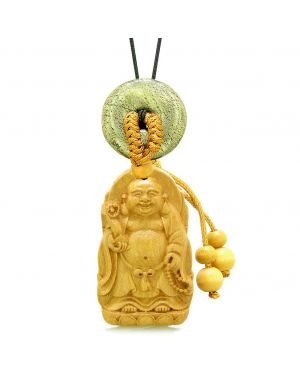 Laughing Buddha Blooming Lotus Car Charm Home Decor Golden Pyrite IrCoin Donut Protect Power Amulet