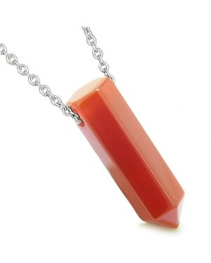 Amulet Lucky Crystal Point Wand Carnelian Gemstone Bullet Shape Pendant 22 Inch Necklace