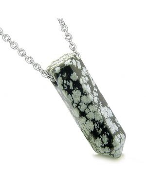 Amulet Lucky Crystal Point Wand Snowflake Obsidian Bullet Shape Pendant 22 Inch Necklace