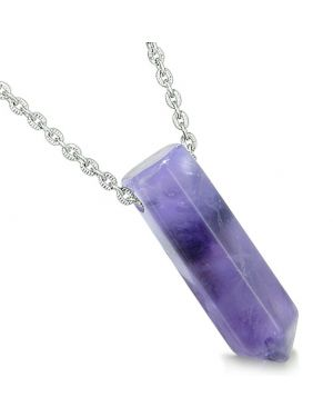 Amulet Lucky Crystal Point Wand Purple Quartz Bullet Style Pendant 22 Inch Necklace