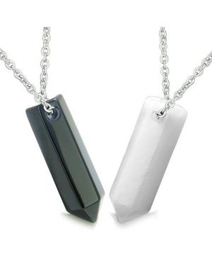 Amulets Love Couples Best Friends Lucky Crystal Point Wands Bullet Style Shape Onyx Jade Necklaces
