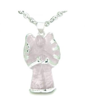 Brazilian Crystal Praying Angel Charm Rose Quartz Good Luck Love Powers Amulet Pendant Necklace