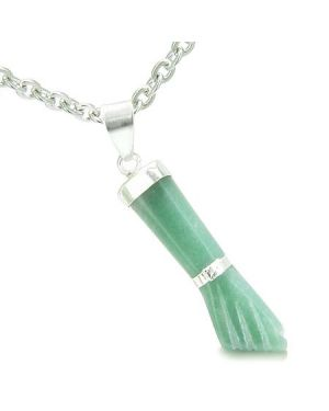 Brazilian Crystal Figa Green Aventurine Money Powers Amulet Italian Lucky Charm Pendant Necklace