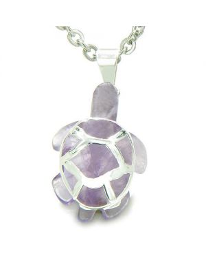 Brazilian Crystal Lucky Turtle Amethyst Safe Protection Powers Amulet Charm Pendant Necklace