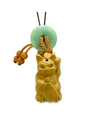 Maneki Neko Fortune Cat Car Charm or Home Decor Green Quartz Coin Donut Protection Powers Amulet