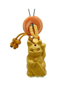 Maneki Neko Fortune Cat Car Charm or Home Decor Red Jasper Coin Donut Protection Powers Magic Amulet