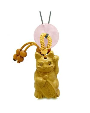 Maneki Neko Fortune Cat Car Charm or Home Decor Rose Quartz Coin Donut Protection Powers Magic Amulet