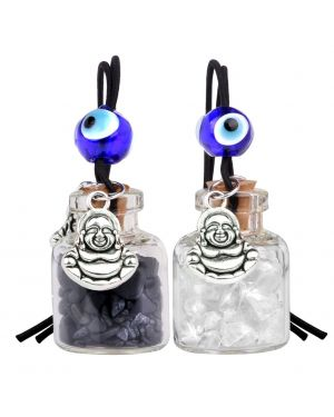 Lucky Happy Buddha Small Car Charms or Home Decor Bottles Quartz Black Obsidian Protection Amulets