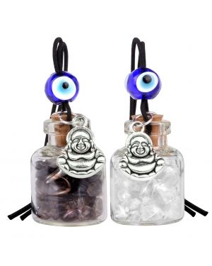 Lucky Happy Buddha Small Car Charms or Home Decor Bottles Smoky Crystal Quartz Protection Amulets