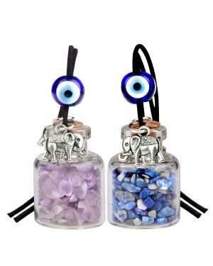 Lucky Elephants Magic Small Car Charms Home Decor Bottles Lapis Lazuli Amethyst Protection Amulets
